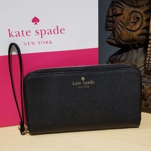Kate Spade Large Continental Wallet Wristlet Black